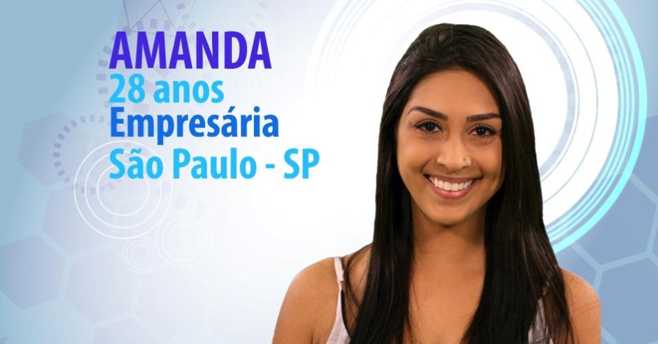 """Amanda, 28 anos, empresária de São Paulo (SP), é participante do """"BBB15"""""""