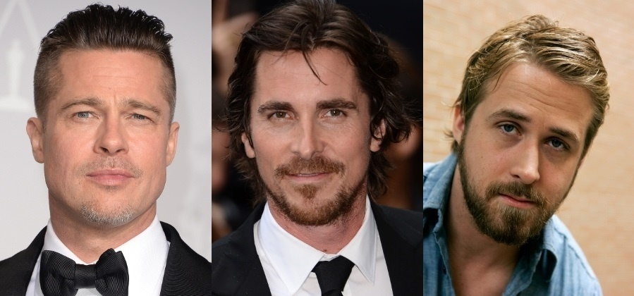 Brad Pitt, Christian Bale e Ryan Gosling, que estarão juntos em