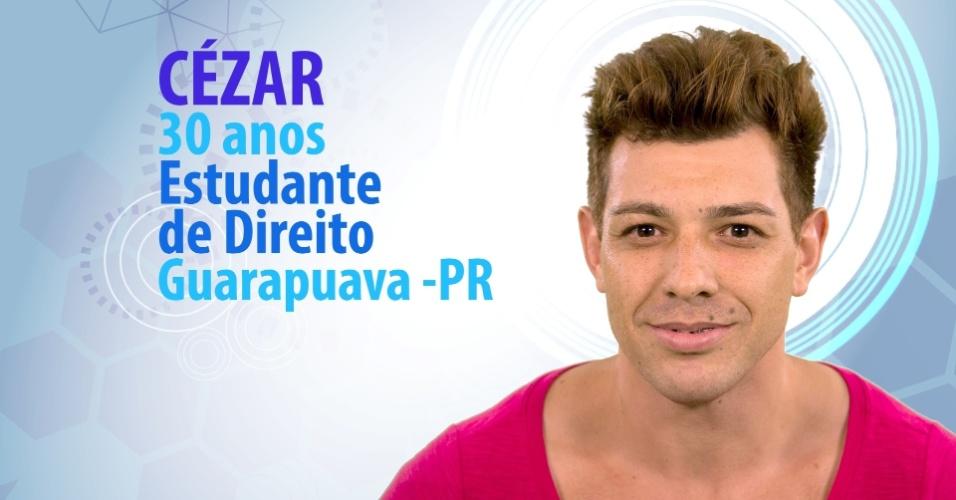 """César, 30 anos, estudante de Direito de Guarapuava (PR), é participante do """"BBB15"""""""