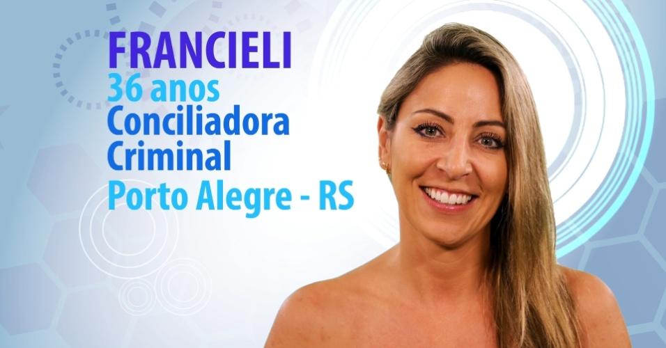 "Francieli Berwanger Medeiros, 36 anos, conciliadora criminal de Porto Alegre (RS), é participante do ""BBB15"""