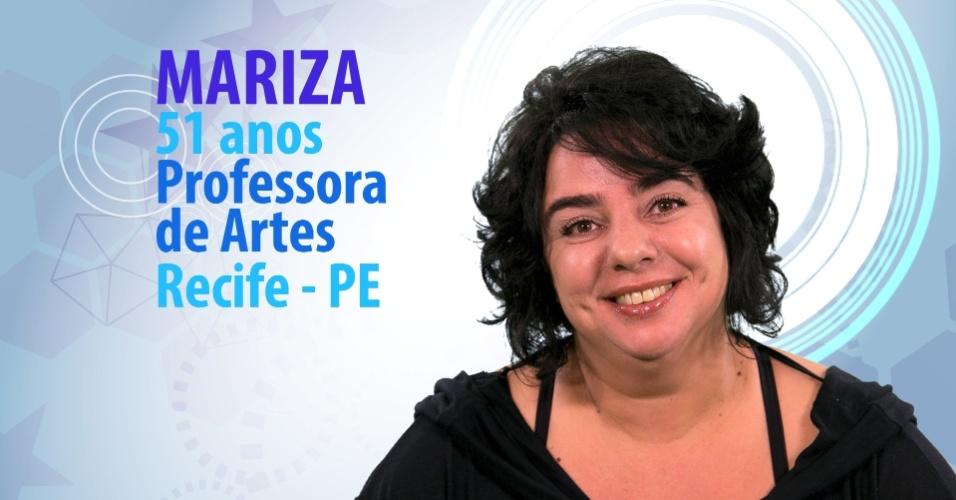 "Mariza, 51 anos, professora de artes de Recife (PE), é participante do ""BBB15"""