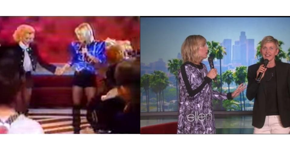 15.jan.2015 - As duas adoram cantar. Ellen, por exemplo, recebeu a comediante e atriz Kristen Wiig e chamou a moça para fazer uma versão bem particular do hit ?Let It Go?, trilha sonora de ?Frozen?.