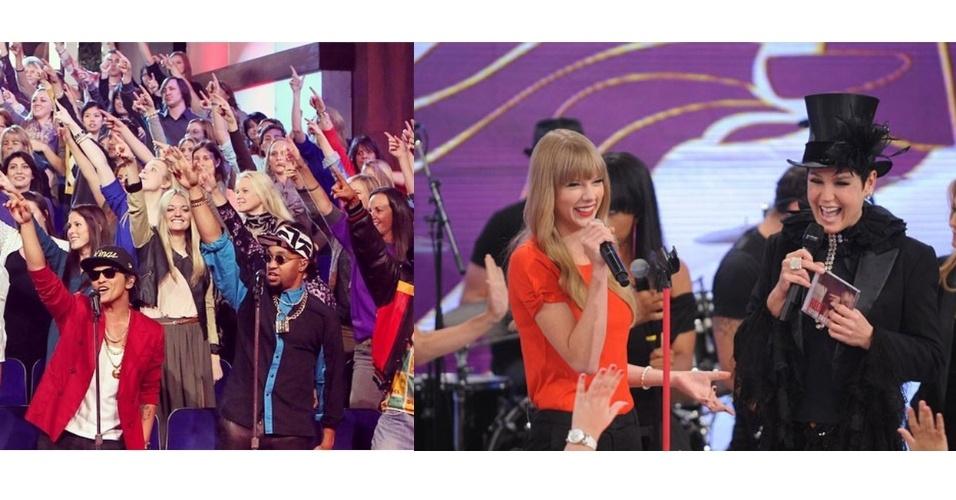 15.jan.2015 - Elas também amam receber cantores de verdade em seus programas