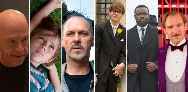 """""""Whiplash"""", """"Boyhood"""", """"Birdman"""", """"A Teoria de Tudo"""", """"Selma"""" e """"O Grande Hotel Budapeste"""" estão entre os indicados ao Oscar de melhor filme  - Montagem/UOL"""