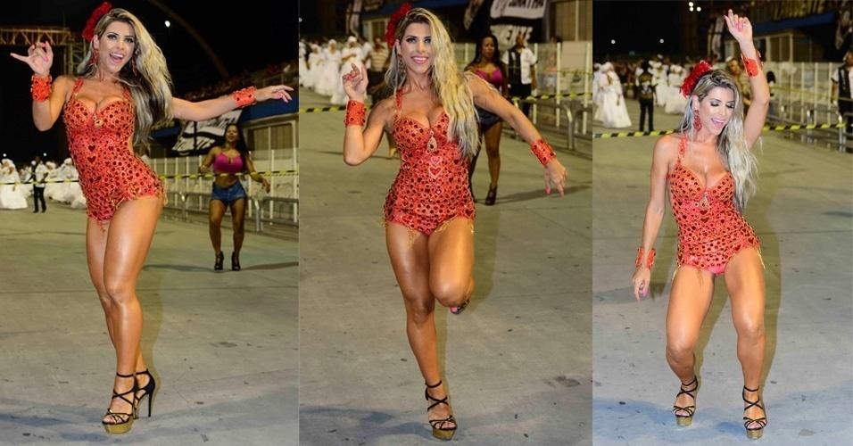 15.jan.2015 - Ana Paula Minerato desfila em ensaio técnico da Gaviões da Fiel, na noite desta quinta-feira, no Anhembi, zona norte de São Paulo