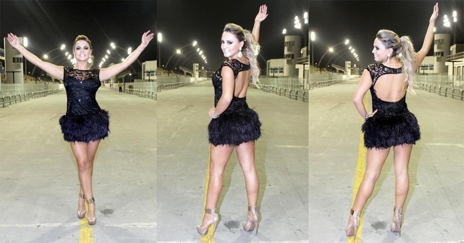 15.jan.2015 - Ester Matchuga desfila em ensaio técnico da Gaviões da Fiel, na noite desta quinta-feira, no Anhembi, zona norte de São Paulo