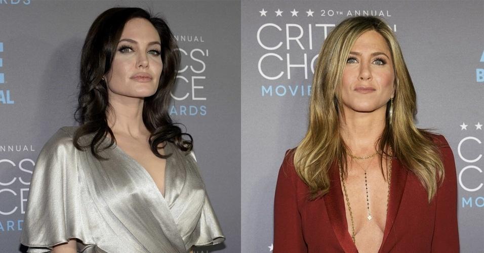 15.jan.2015 - Rivais na vida real, Angelina Jolie e Jennifer Aniston se encontram na 20ª edição do Critic's Choice Awards, em uma cerimônia realizada nesta quinta-feira, no Hollywood Palladium, em Los Angeles, nos Estados Unidos