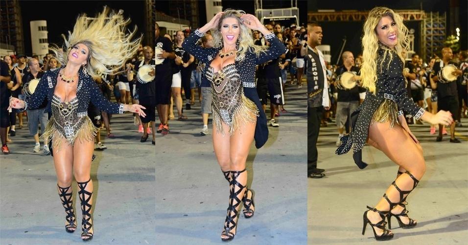15.jan.2015 - Tati Minerato desfila em ensaio técnico da Gaviões da Fiel, na noite desta quinta-feira, no Anhembi, zona norte de São Paulo