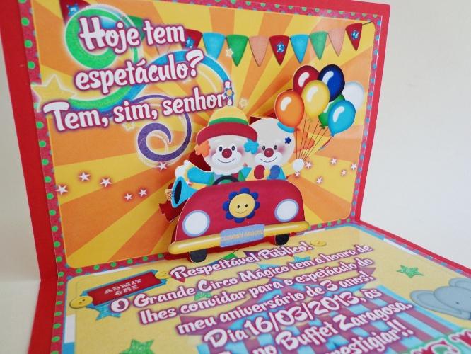 convites para festa de aniversário | Convite para festa de aniversário com o tema circo, da Grazi Machado (www.grazimachado.com.br). Por R$ 7 (unidade). Preço pesquisado em janeiro de 2015, sujeito a alterações