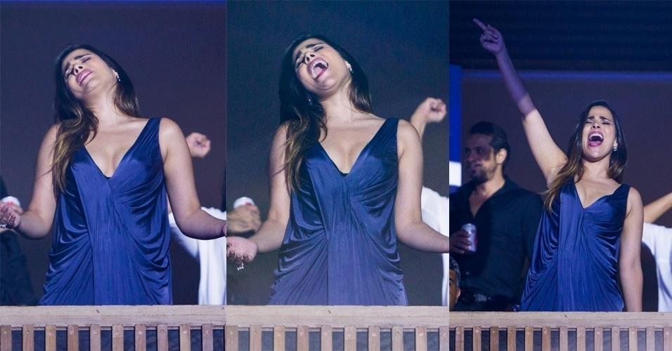 16.jan.2015 - Wanessa canta e dança na gravação do novo DVD do pai, Zezé di Camargo, com Luciano,