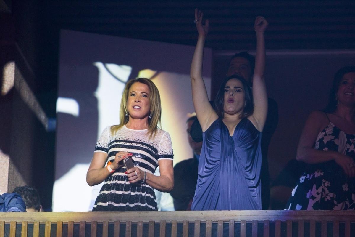 16.jan.2015 - Wanessa e Zilu Godói se divertem na gravação do novo DVD de Zezé di Camargo e Luciano,