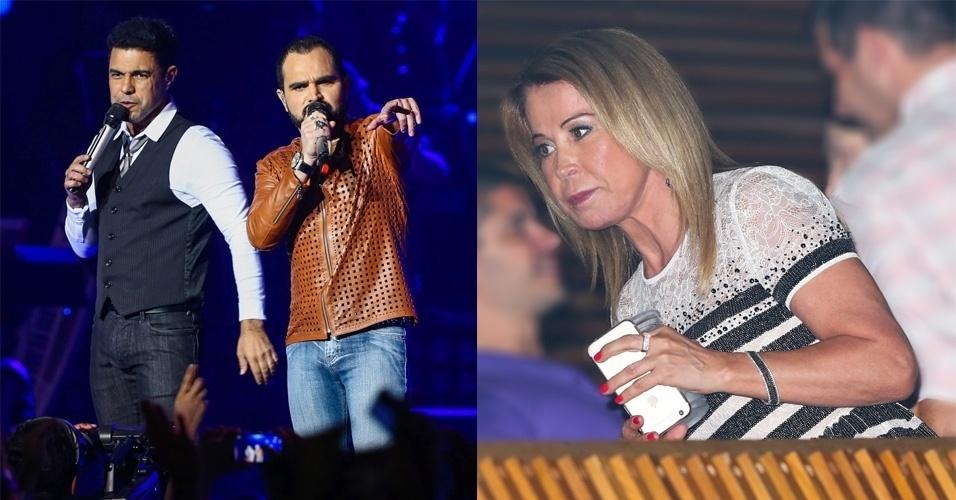 16.jan.2015 - Zilu, ex-mulher de Zezé di Camargo, assiste à gravação do novo DVD