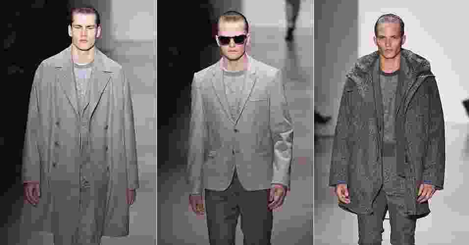18.jan.2015 - Looks monocromáticos em cinza fazem o homem chique e minimalista da Calvin Klein, na Semana de Moda Masculina de Milão - Getty Images/ Montagem UOL