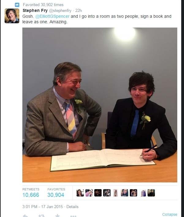 Stephen Fry se casa com homem 30 anos mais jovem
