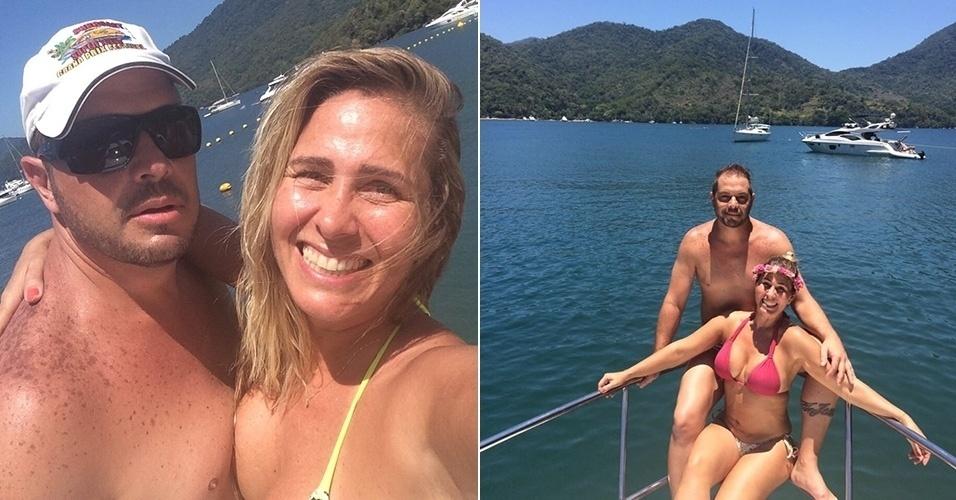 17.jan.2015 - Andréia Sorvetão e o marido, o cantor Conrado, aproveitam dia em barco em Angra dos Reis, no Rio de Janeiro. Segundo a assessoria de imprensa da ex-paquita, os dois estão comemorando com atraso o aniversário de 20 anos de casados, ocorrido em dezembro