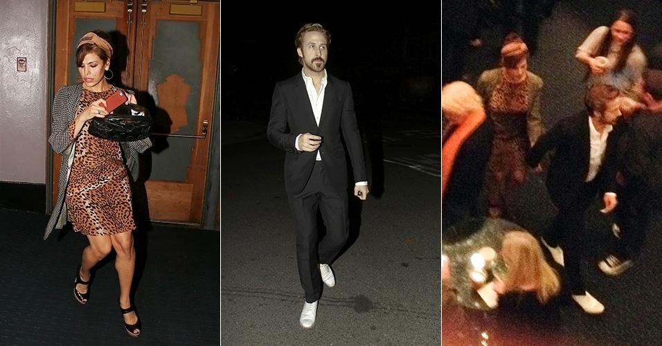17.jan.2015 - Ryan Gosling e Eva Mendes são vistos juntos pela primeira vez após o nascimento da filha Esmeralda Amada, em setembro. Os dois, que não costumam ser fotografados juntos, foram assistir a um show de comédia no Saban Theatre, em Los Angeles