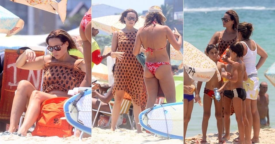19.jan.2015 - De cabelos curtos, Vanessa Gerbelli curte dia de praia com a família na Barra da Tijuca, no Rio de Janeiro