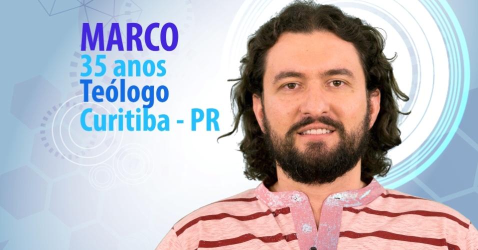 """Marco Marcon, de 35 anos, teólogo de Curitiba (PR) é participante do """"BBB15"""""""