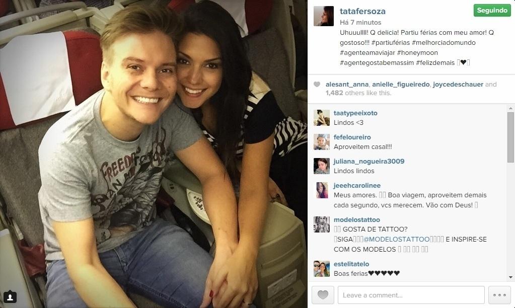 20.jan.2015 - Michel Teló e Thais Fersoza viajaram juntos para uma segunda lua de mel na noite dessa segunda-feira (19). A foto foi publicada no Instagram da atriz