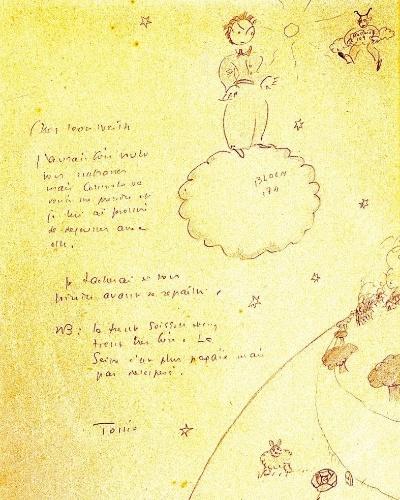 """Esboço feito por Antoine de Saint-Exupéry para o livro """"O Pequeno Príncipe"""", que foi exibido em São Paulo, durante a mostra O Pequeno Príncipe na Oca, em 2009"""