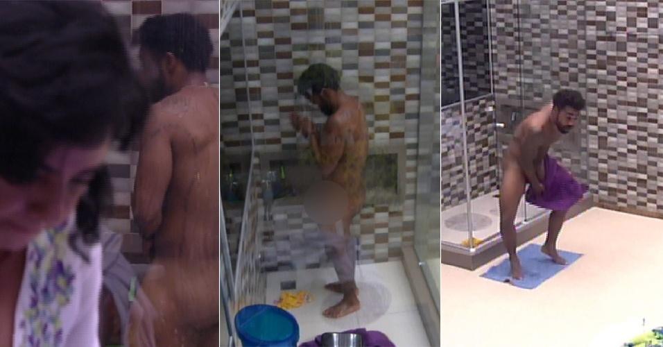 21.jan.2015 - Douglas tomou banho complatamente nu e não se importou com a presença de outros brothers