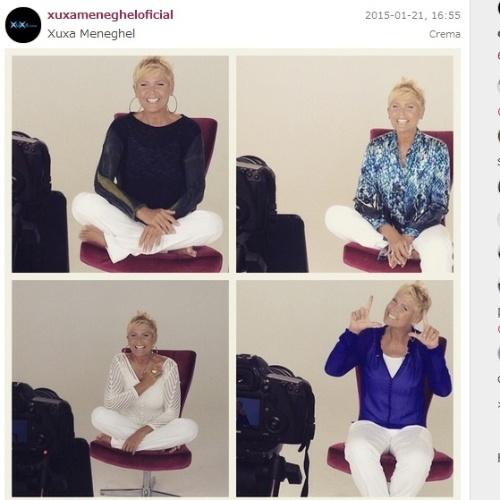 """21.jan.2015- Com um pé na Record, Xuxa grava chamadas para o canal Viva: """"Pausa nas férias para gravar as cabeças do Planeta Xuxa"""""""