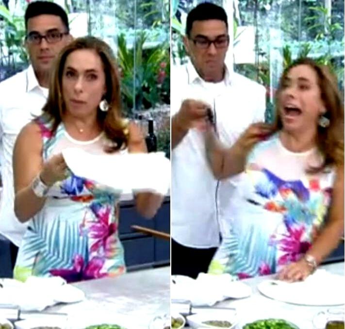 23.jan.2015 - Cissa Guimarães leva susto com aranha