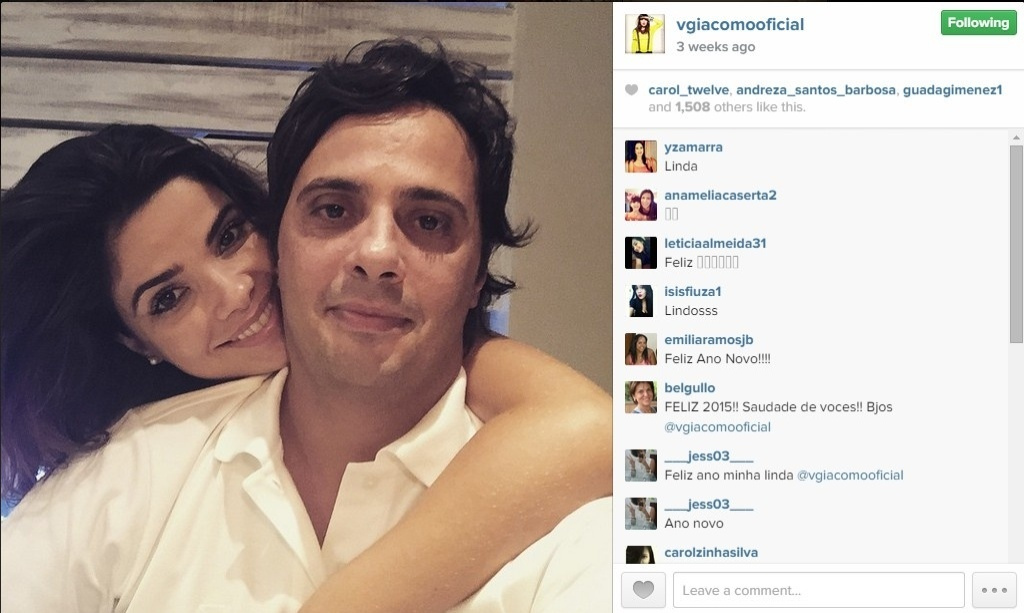 Vanessa Giácomo posta selfie com o marido, Giuseppe Dioguardi, em janeiro de 2015