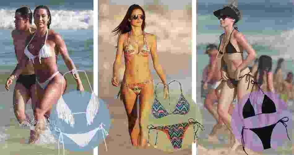 """Com a chegada do verão, famosas aproveitam o sol e são fotografadas nas praias do Brasil e do mundo. Provando que são """"gente como a gente"""", usam biquínis sem grandes ousadias ou extravagâncias. Os modelos permitem que elas nadem, passeiem e tomem sol sem marquinhas grandes ou estranhas. A seguir, veja os modelos usados pelas famosas e onde conseguir modelos semelhantes - Agnews e Grosby Group"""