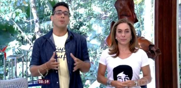 """Cissa Guimarães usa camiseta com o rosto do filho, Rafael Mascarenhas, para apresentar o """"Mais Você"""""""