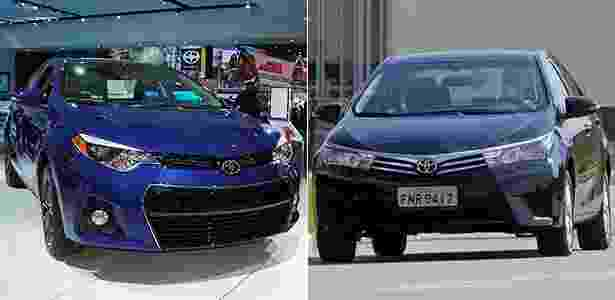 Toyota Corolla americano vs. Toyota Corolla brasileiro - Arte UOL Carros - Arte UOL Carros