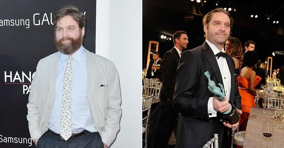 Zach Galifianakis, em 2013 e em 2015, quando apareceu bem mais magro