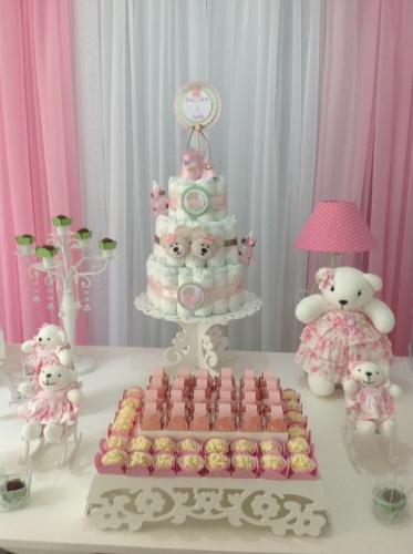 álbum com decorações de chá de bebê de gêmeos