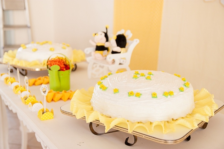álbum com decorações de chá de bebê de gêmeos   Na mesa principal desse chá de bebê de gêmeos, foram colocados dois bolos, um para cada um dos irmãos