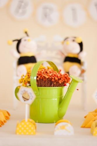 álbum com decorações de chá de bebê de gêmeos   Um regador usado como vaso e abelhas de pelúcia ajudaram a compor a decoração desse chá de bebê assinado pela Casinha da Manu Scrap & Festa