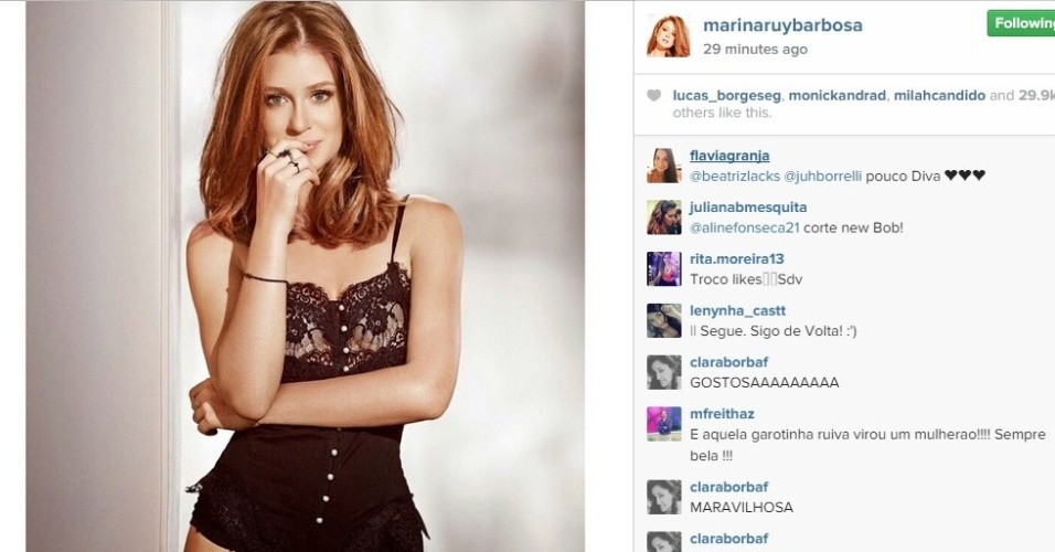 Marina Ruy Barbosa aparece em foto só de lingerie