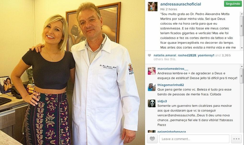30.jan.2015- Andressa Urach agradece médico e diz que cicatrizes ficaram discretas após procedimentos para retirada do hidrogel