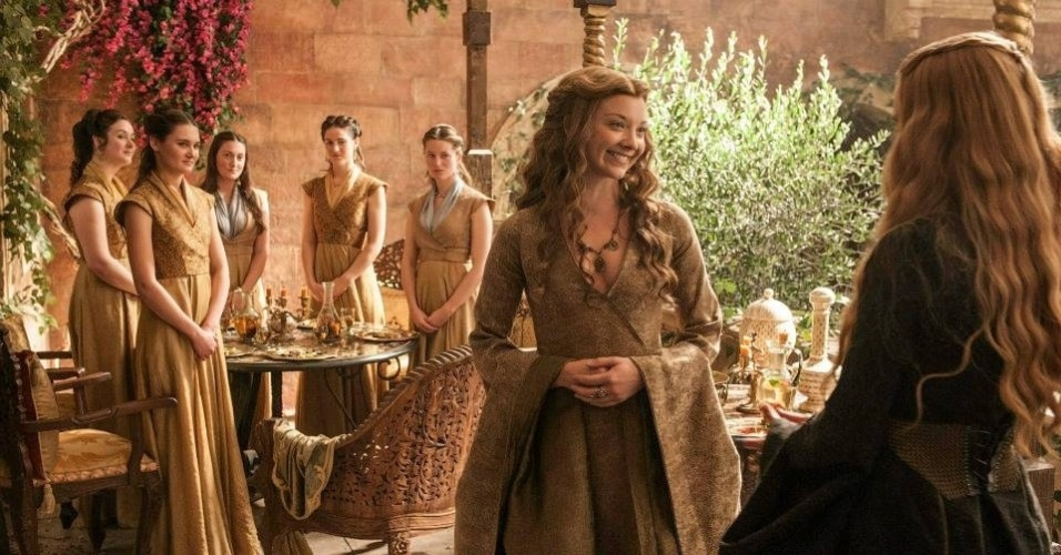 """Natalie Dormer como Margaery Tyrell, filha de Cersei Lannister (Lena Headey) em cena da 5ª de """"Game of Thrones"""", que estreia dia 12 de abril"""