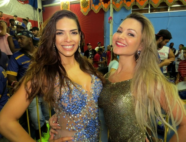 30.jan.2015 - As atrizes Nuelle Alves e Maísa Magalhães curtiram o ensaio geral da Acadêmicos do Tucuruvi, que aconteceu na quadra da escola na noite de sexta-feira (30).