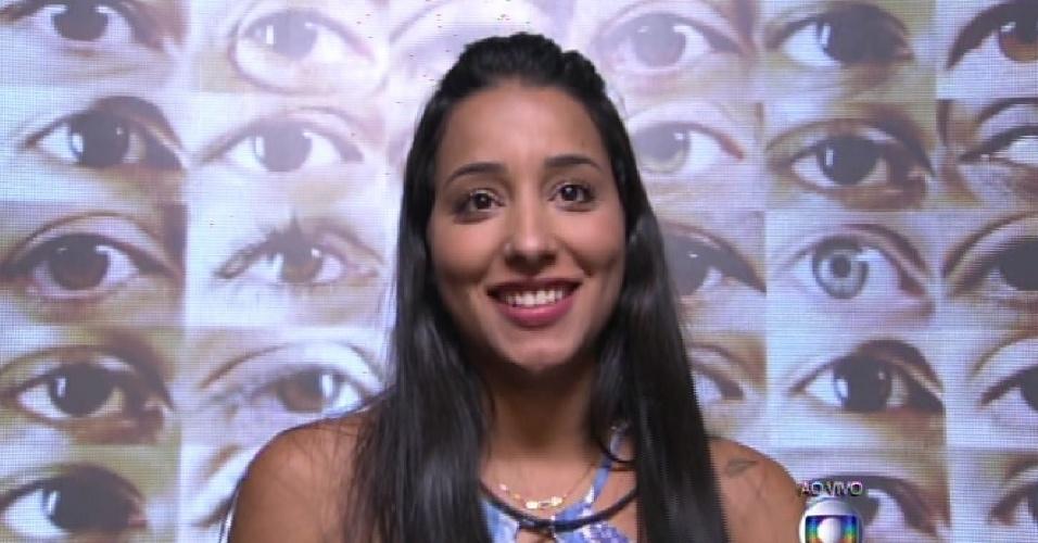 """1.fev.2015 - Talita vota em Adrilles durante a formação do segundo paredão do """"BBB15"""""""