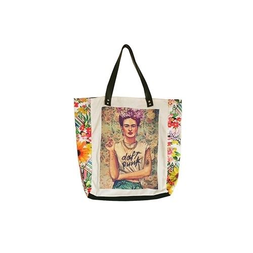 Bolsa em brim com detalhes em cetim e estampa da artista Frida Kahlo, da Estilize à venda na Elo7. Preço: R$ 64,90. Informações: www.elo7.com.br | Preço e disponibilidade pesquisados em fevereiro de 2015 e sujeitos a alterações