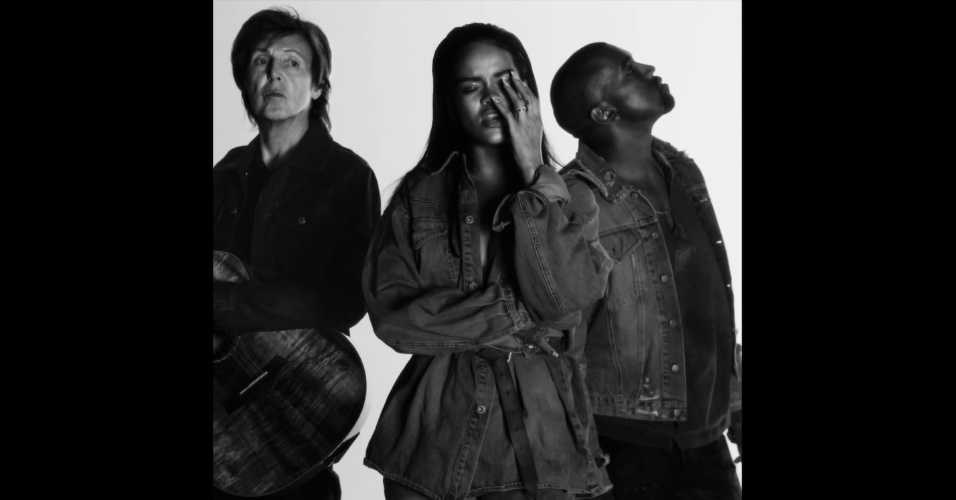 "3.fev.2015 - Rihanna, Kayne West e Paul McCartney lançam clipe de ""Four Five Seconds"""