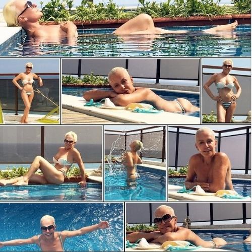 De biquíni, Ana Maria posa na piscina e exibe corpão aos 65 anos