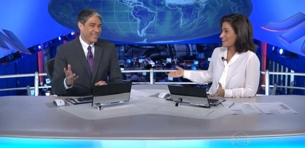 "William Bonner e Renata Vasconcellos no ""Jornal Nacional"""
