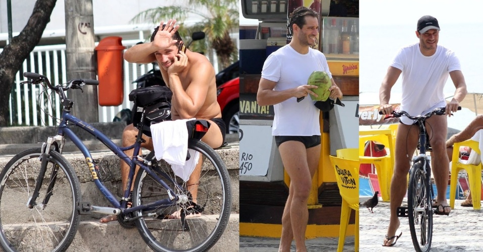 """4.fev.2015- Paulo Rocha, o Orville de """"Império"""", é flagrado em momento de lazer na praia do Leblon, zona sul do Rio. Simpático, o ator acenou para o paparazzo ao notar que estava sendo fotografado"""
