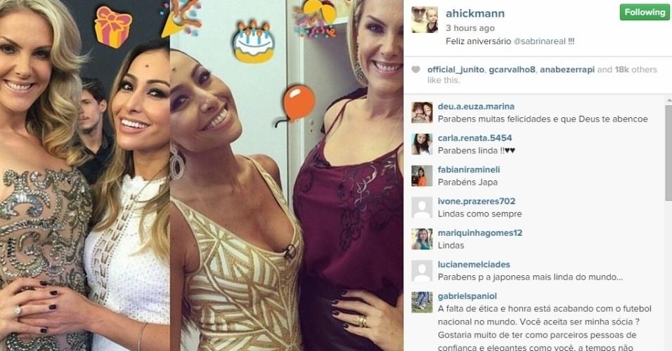 4.jan.2015 - Ana Hickmann manda parabéns para Sabrina Sato