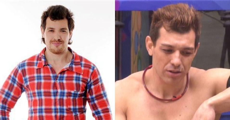 """Montagem Cézar em foto publicada em julho de 2012 e à direita na cada do """"BBB15"""""""