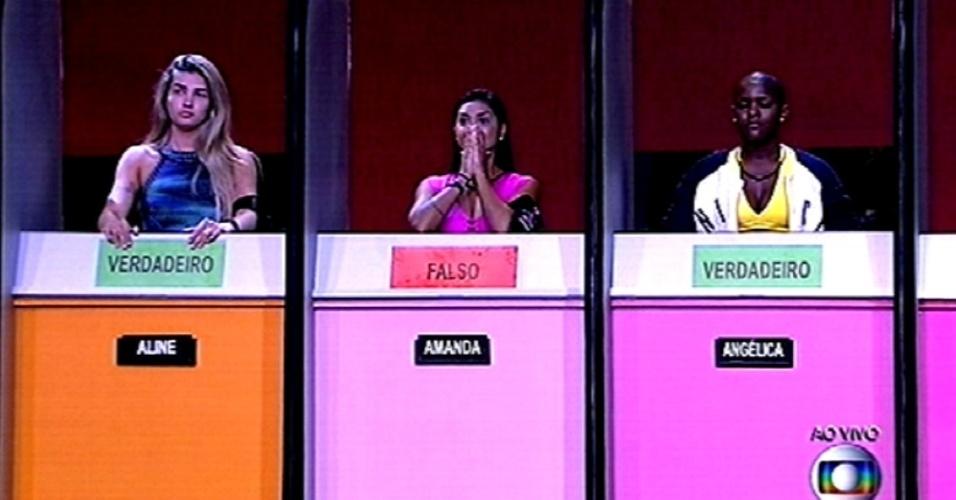 """5.fev.2015 - Amanda (centro) desbanca Aline (à esq.) e Angélica (à dir.) em prova de conhecimentos gerais e se torna a terceira líder do """"BBB15"""""""