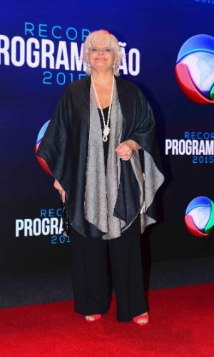 5.fev.2015 - Jussara Freire chega para apresentação da programação 2015 da Record, em São Paulo