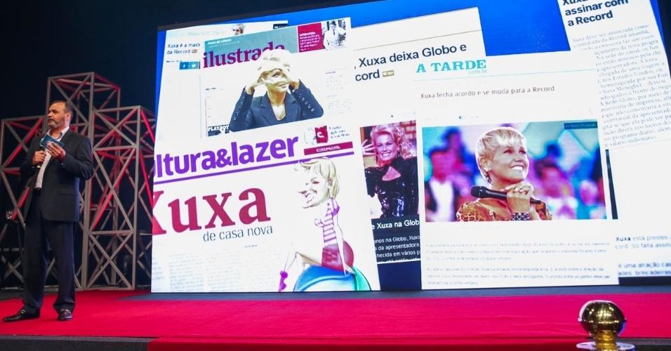 5.fev.2015 - Reportagens sobre Xuxa são exibidas em telão enquanto Marcelo Silva, vice-presidente artístico da Record, diz que a contratação da apresentadora pela emissora será comunicada em conjunto pelas partes